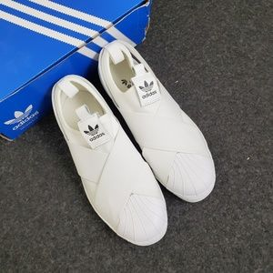 NEW Adidas W white superstar slip on 6.5 7 7.5